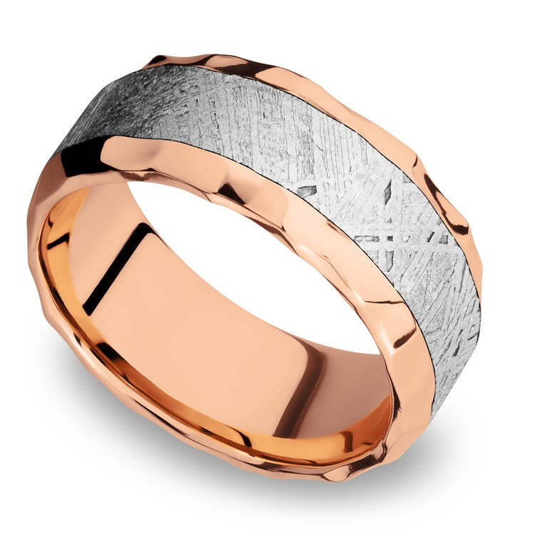 Daybreaker - Hammered 14K Rose Gold Mens Band with Meteorite Inlay | 01