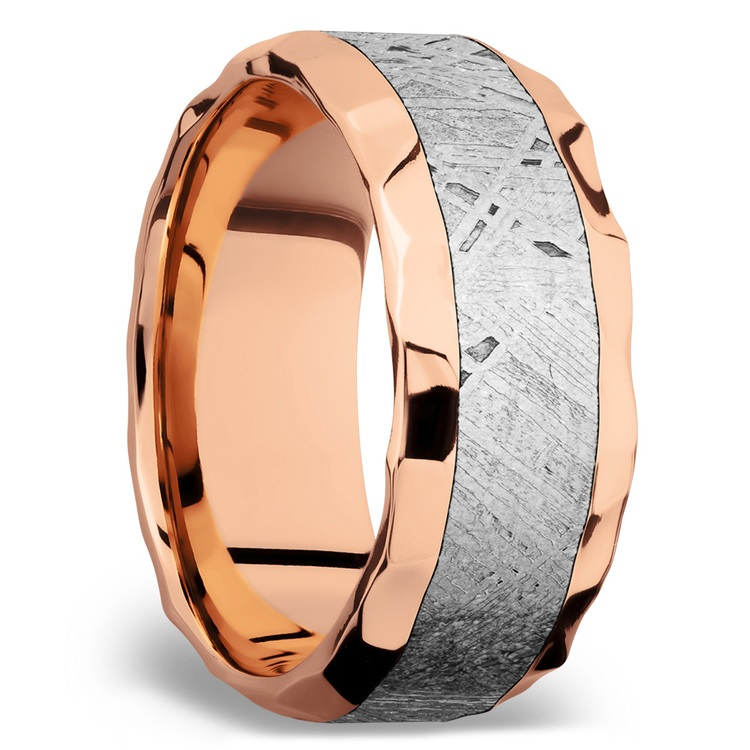Daybreaker - Hammered 14K Rose Gold Mens Band with Meteorite Inlay | 03