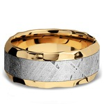 Hammered Meteorite Inlay Men's Wedding Ring in 14K Yellow Gold | Thumbnail 03