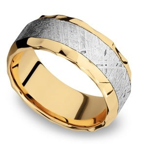The Big Bang - Hammered 14K Yellow Gold Mens Band with Meteorite Inlay