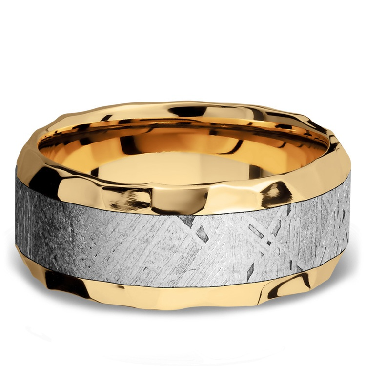 Hammered Meteorite Inlay Men's Wedding Ring in 14K Yellow Gold | 03