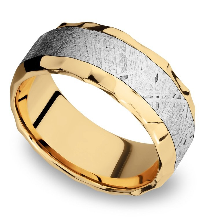 Hammered Meteorite Inlay Men's Wedding Ring in 14K Yellow Gold | 01