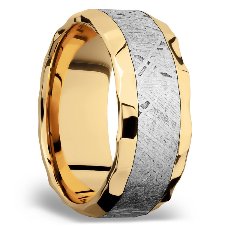 Hammered Meteorite Inlay Men's Wedding Ring in 14K Yellow Gold | 02