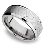Beveled Meteorite Inlay Men's Wedding Ring in Palladium | Thumbnail 01