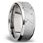 Beveled Meteorite Inlay Men's Wedding Ring in Palladium | Thumbnail 02