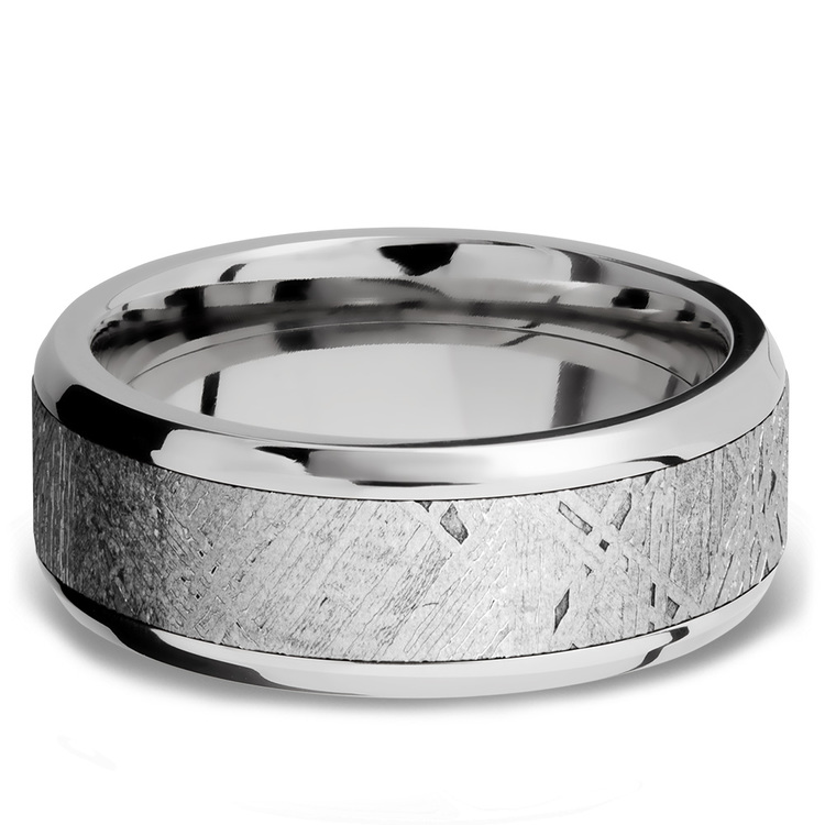 Beveled Meteorite Inlay Men's Wedding Ring in Palladium | 03