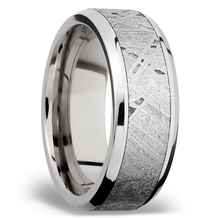 Beveled Meteorite Inlay Men's Wedding Ring in Palladium | 02