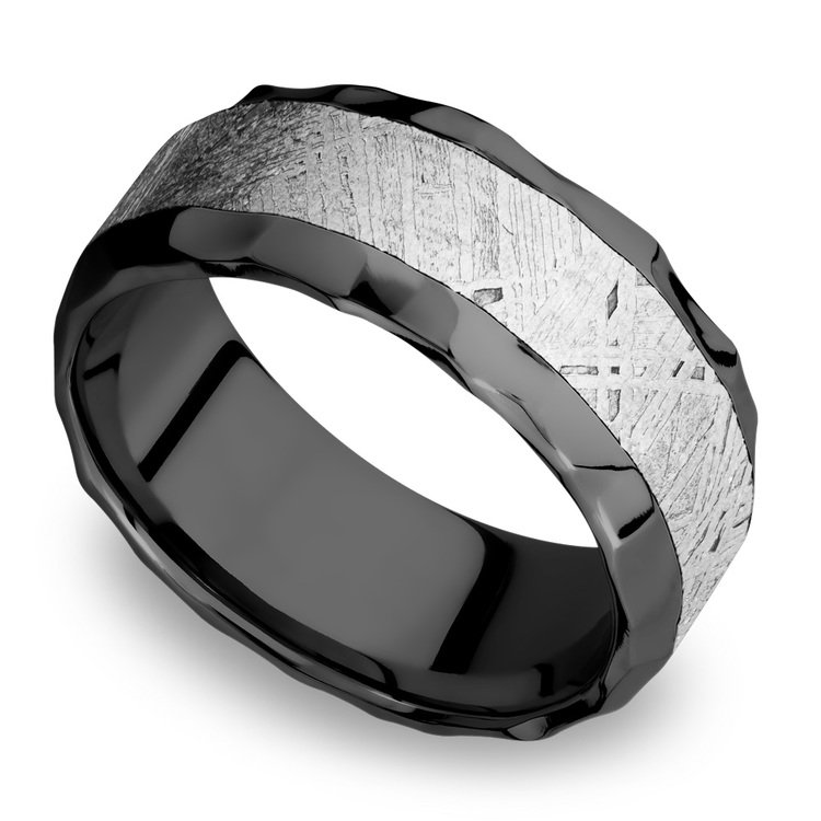 Asteroid - Hammered Zirconium Mens Band with Beveled Meteorite Inlay | 01