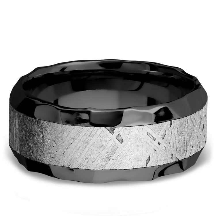 Asteroid - Hammered Zirconium Mens Band with Beveled Meteorite Inlay | 03
