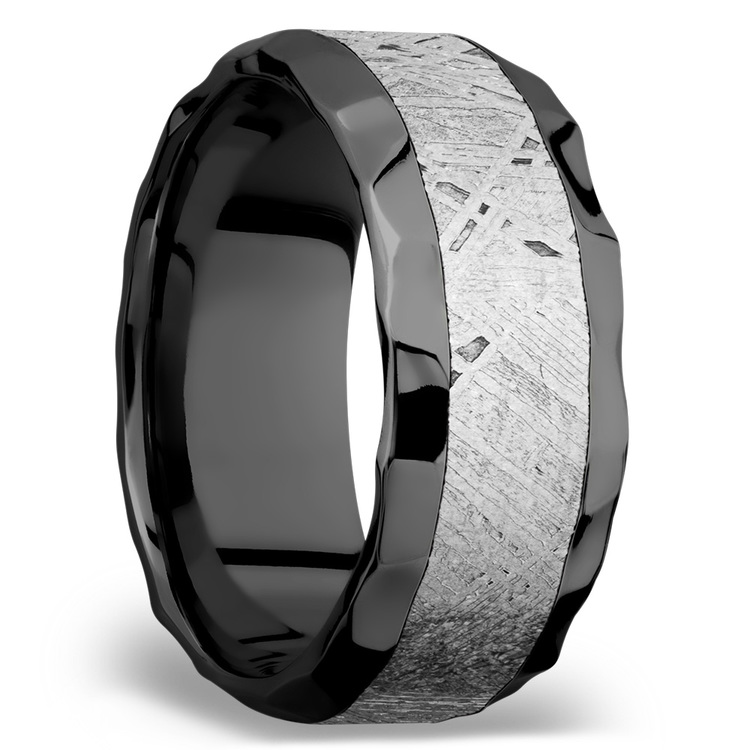 Asteroid - Hammered Zirconium Mens Band with Beveled Meteorite Inlay | 02