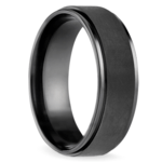 Beveled Pattern Men's Wedding Ring in Black Titanium | Thumbnail 02