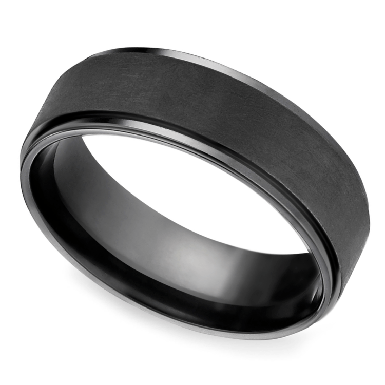 Beveled Pattern Men's Wedding Ring in Black Titanium | 01