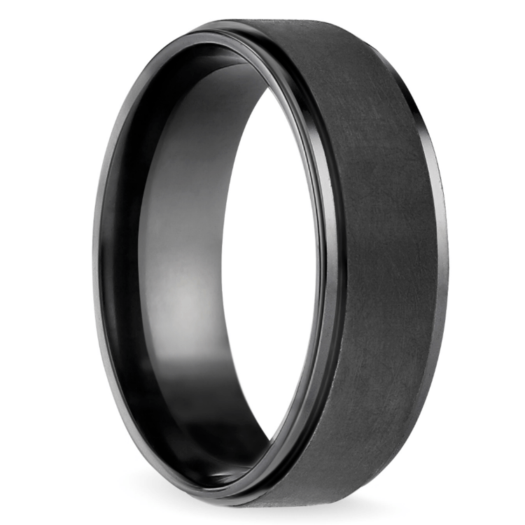 Beveled Pattern Men's Wedding Ring in Black Titanium | 02
