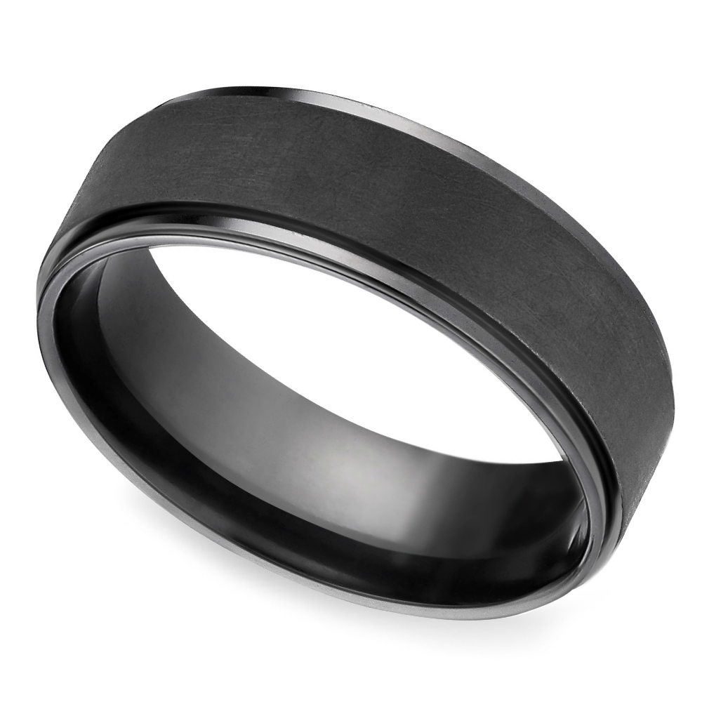Beveled Pattern Men S Wedding Ring In Black Titanium