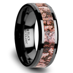Beveled Pink Dinosaur Bone Inlaid Men's Wedding Ring In Black Ceramic | Thumbnail 02