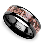 Beveled Pink Dinosaur Bone Inlaid Men's Wedding Ring In Black Ceramic | Thumbnail 01