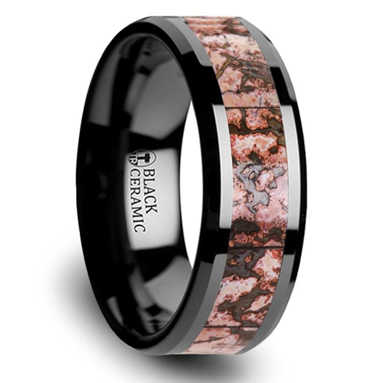 Beveled Pink Dinosaur Bone Inlaid Men's Wedding Ring In Black Ceramic | 02