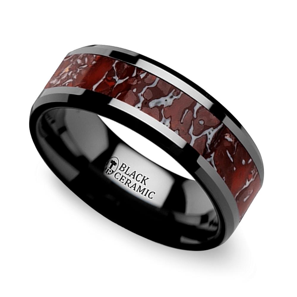 beveled red dinosaur bone inlay mens wedding ring in black ceramic