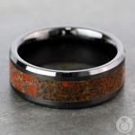 Beveled Red Dinosaur Bone Inlay Men's Wedding Ring in Black Ceramic | Thumbnail 04