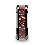 Beveled Red Dinosaur Bone Inlay Men's Wedding Ring in Black Ceramic | Thumbnail 03