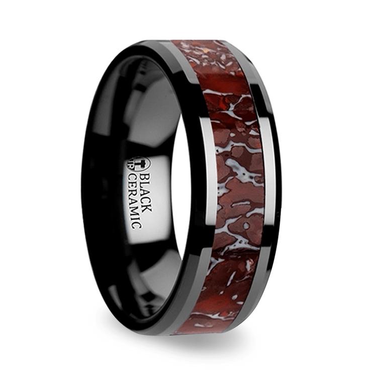 Beveled Red Dinosaur Bone Inlay Men's Wedding Ring in Black Ceramic | 02