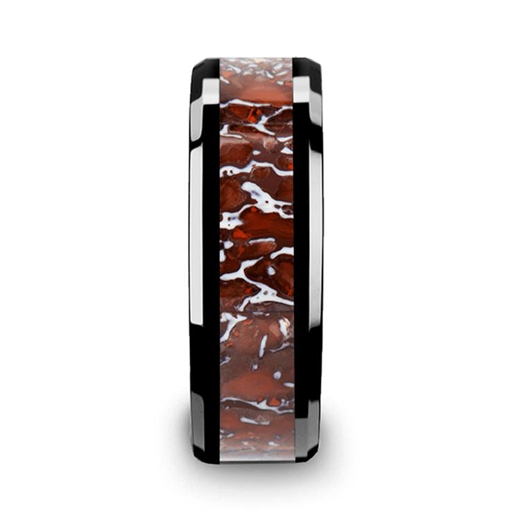 Beveled Red Dinosaur Bone Inlay Men's Wedding Ring in Black Ceramic | 03