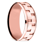 Sandblasted Inlay Men's Wedding Ring in Rose Gold | Thumbnail 02