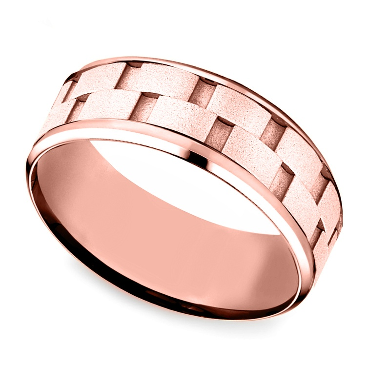 Sandblasted Inlay Men's Wedding Ring in Rose Gold | 01