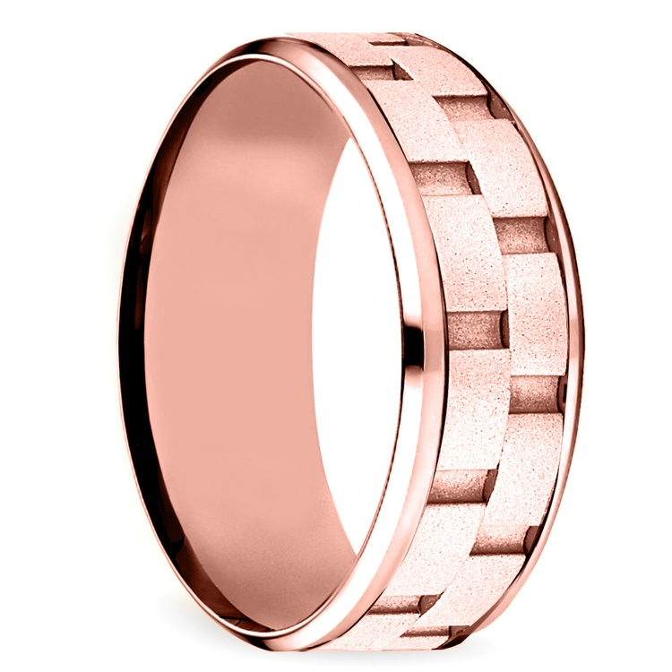 Sandblasted Inlay Men's Wedding Ring in Rose Gold | 02
