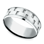Sandblasted Inlay Men's Wedding Ring in White Gold | Thumbnail 01