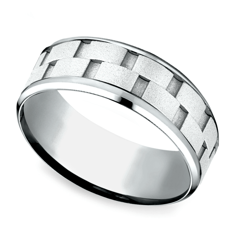 Sandblasted Inlay Men's Wedding Ring in White Gold | 01
