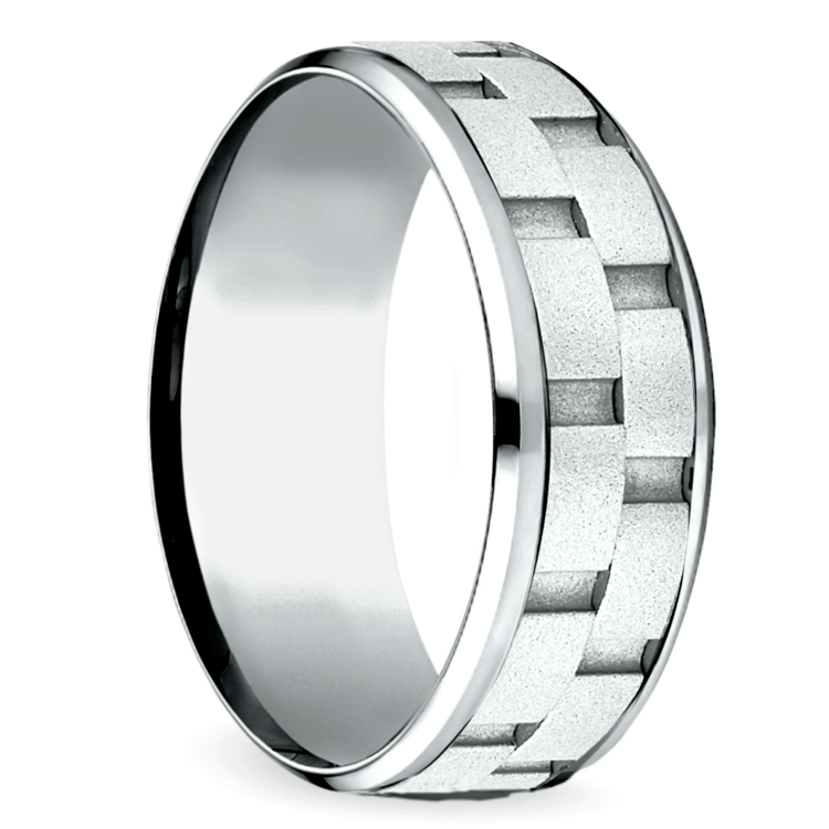 Sandblasted Inlay Men's Wedding Ring in White Gold | 02