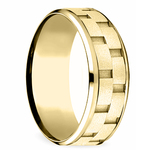 Sandblasted Inlay Men's Wedding Ring in Yellow Gold | Thumbnail 02