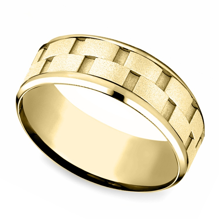 Sandblasted Inlay Men's Wedding Ring in Yellow Gold | 01