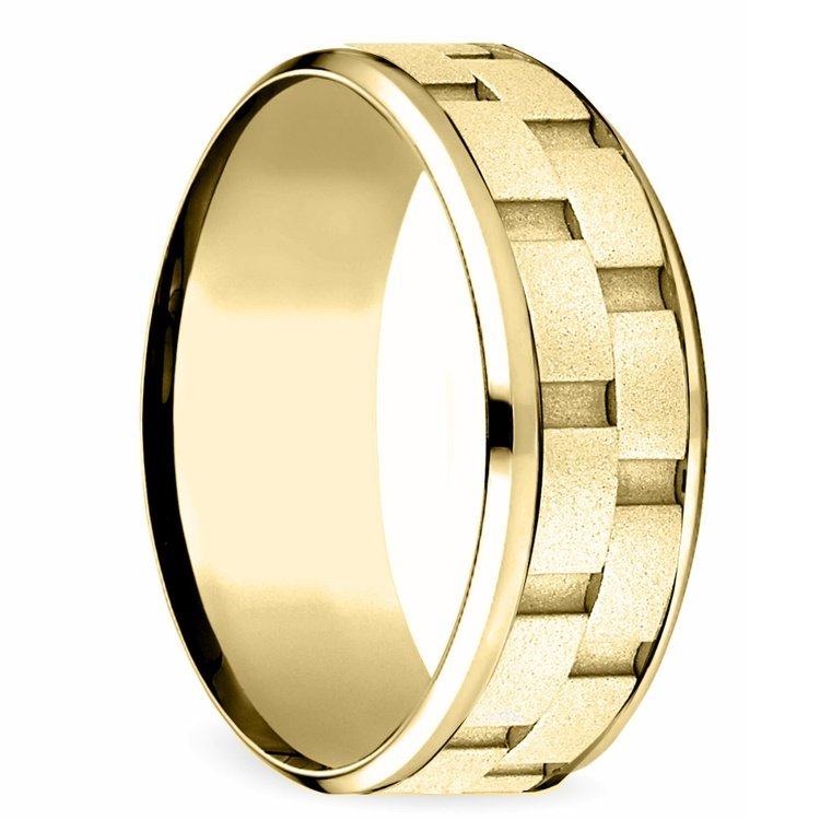Sandblasted Inlay Men's Wedding Ring in Yellow Gold | 02