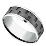 Sandblasted Inlay Men's Wedding Ring in Cobalt   Thumbnail 01