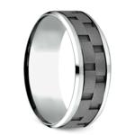 Sandblasted Inlay Men's Wedding Ring in Cobalt   Thumbnail 02