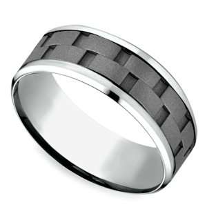 Sandblasted Inlay Men's Wedding Ring in Cobalt