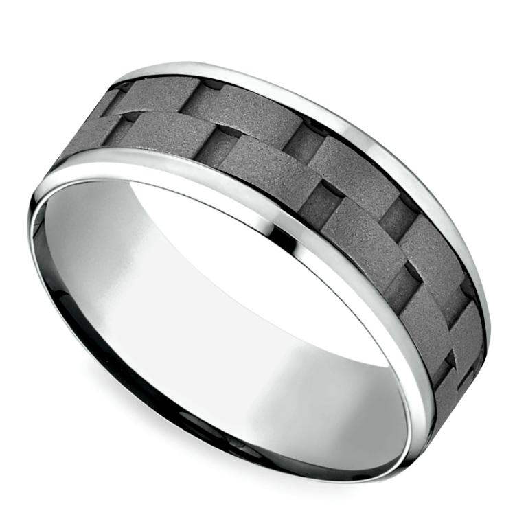 Sandblasted Inlay Men's Wedding Ring in Cobalt   01