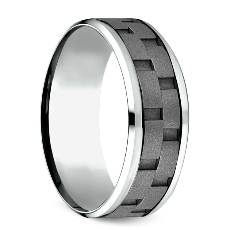 Sandblasted Inlay Men's Wedding Ring in Cobalt   02