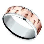 Sandblasted Inlay Men's Wedding Ring in White & Rose Gold | Thumbnail 01