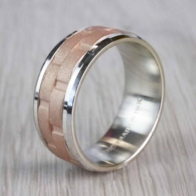 Sandblasted Inlay Men's Wedding Ring in White & Rose Gold | 03