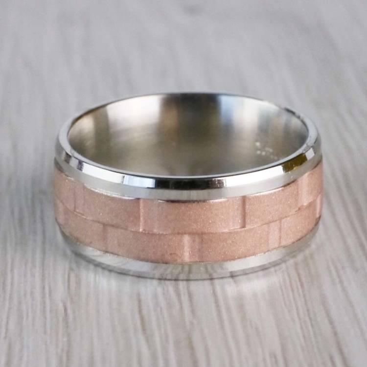 Sandblasted Inlay Men's Wedding Ring in White & Rose Gold | 04