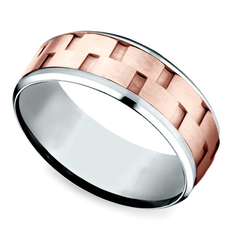 Sandblasted Inlay Men's Wedding Ring in White & Rose Gold | 01