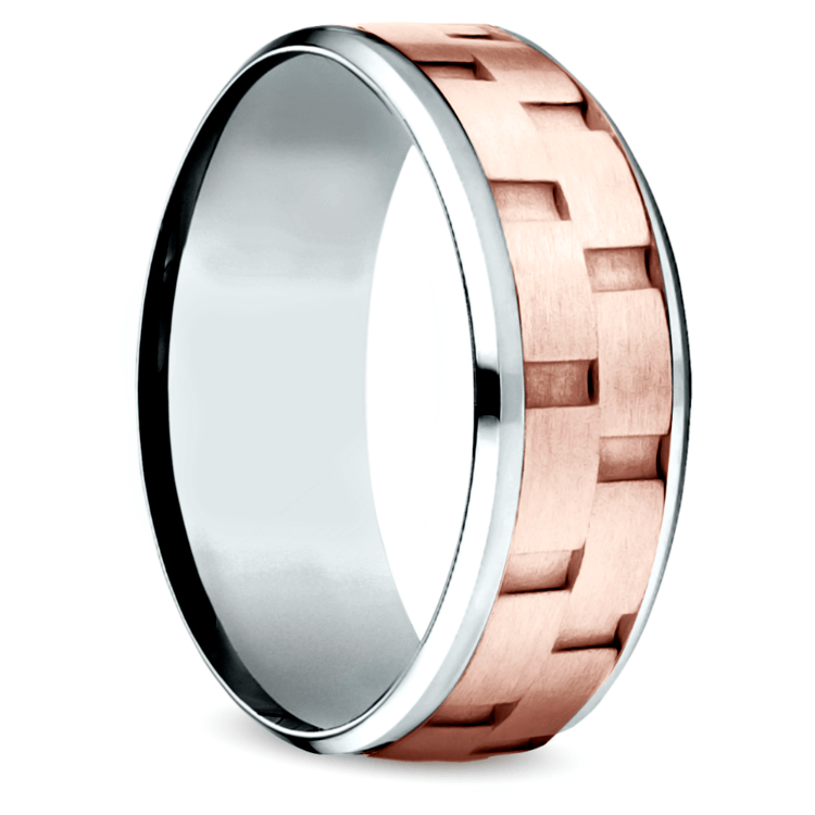 Sandblasted Inlay Men's Wedding Ring in White & Rose Gold | 02