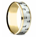 Sandblasted Inlay Men's Wedding Ring in White & Yellow Gold   Thumbnail 02