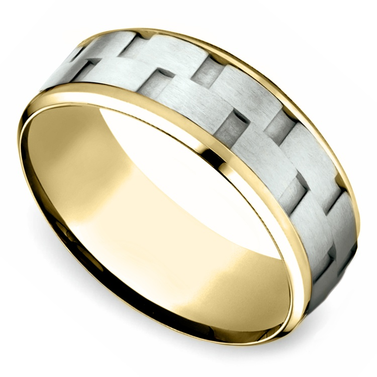 Sandblasted Inlay Men's Wedding Ring in White & Yellow Gold | 01