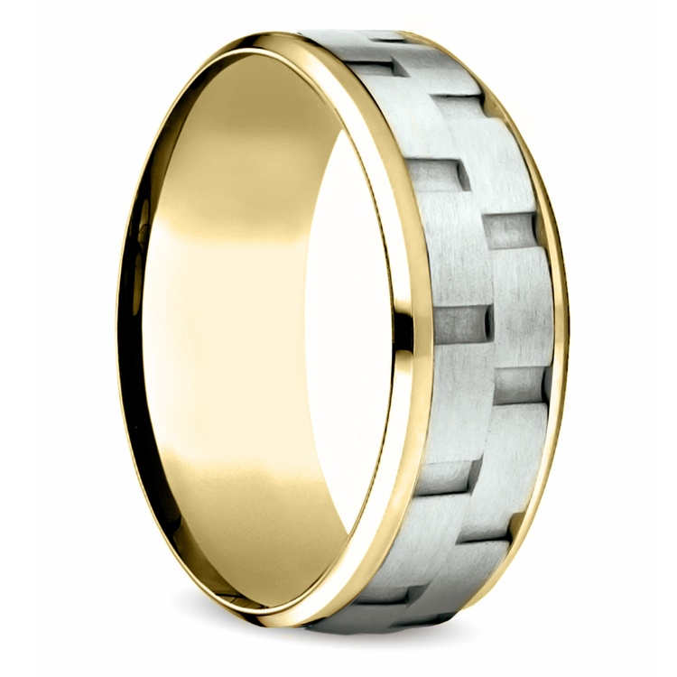 Sandblasted Inlay Men's Wedding Ring in White & Yellow Gold | 02