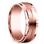 Beveled Satin Men's Wedding Ring in Rose Gold | Thumbnail 02
