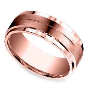 Beveled Satin Men's Wedding Ring in Rose Gold